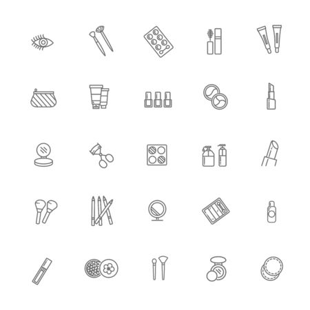 Beauty Cosmetic Minimalistic Flat Line Outline Stroke Icon Pictogram 向量圖像