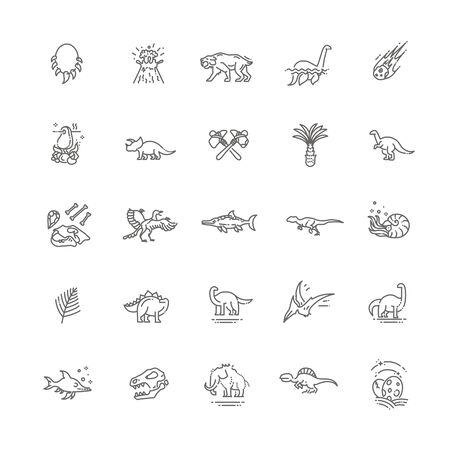 Dinosaurs thin line vector icon set