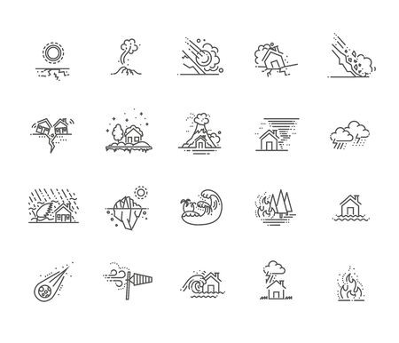 natural disaster icons thin line vector 向量圖像