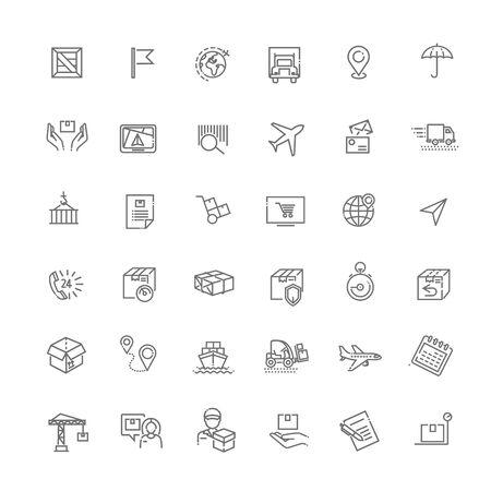 Shipping vector icons for logistic company