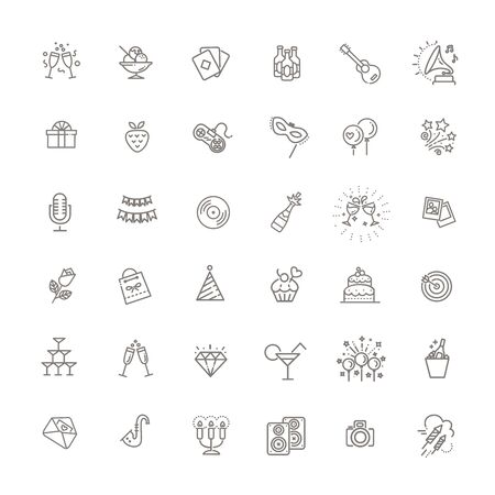 Set of Party Related Vector Line Icons 向量圖像