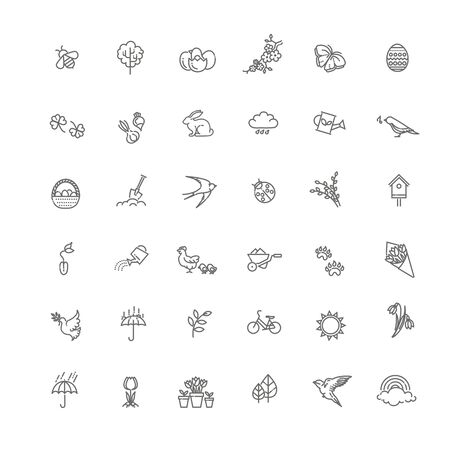 Flat Design Style. vector set of outline icons spring. Springtime