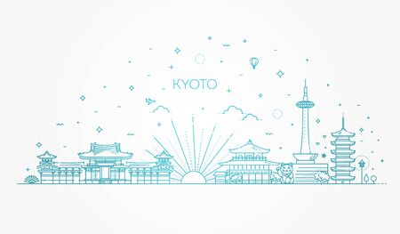 Set of flat icons of Kyoto landmarks and culture features vector illustration