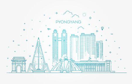 North Korea, Pyongyang line skyline vector illustration