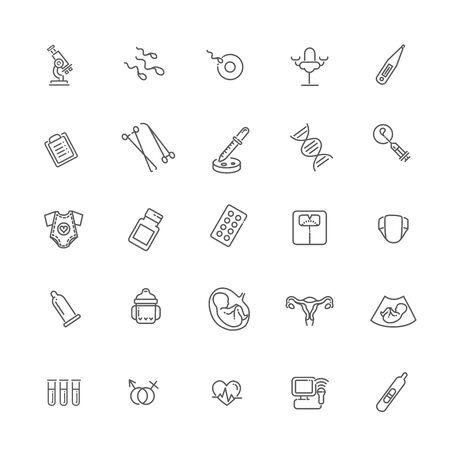 Vector set of icons. Gynecology