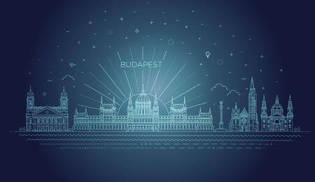 Hungarian travel landmark of historical building thin line icon