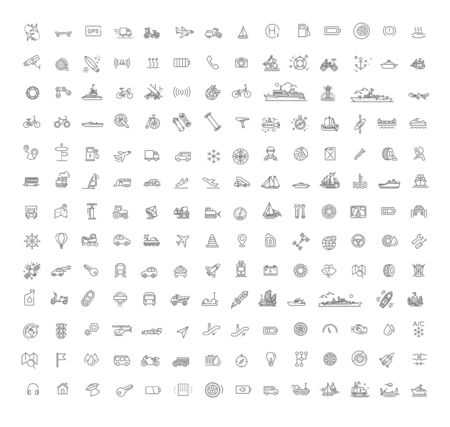 178 Transport icons, simple and thin line design