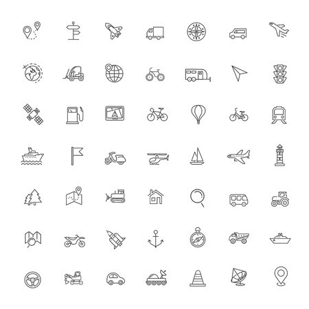 vector line icons set - navigation, location and transportation