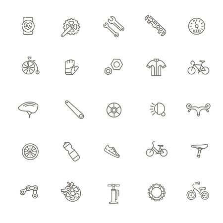 Bike tools and equipment part and accessories vector icon set 向量圖像
