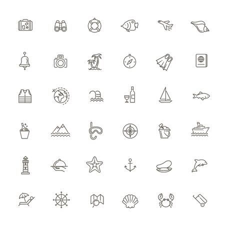 vector outline web icon set - journey 向量圖像