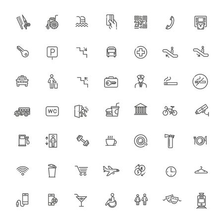 Public place navigation vector icons. Contains such Icons as Cloakroom, Elevator, Exit, Taxi, ATM and more