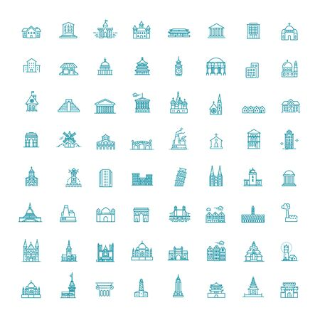 Building Icons set, Government. line flat illustration 向量圖像