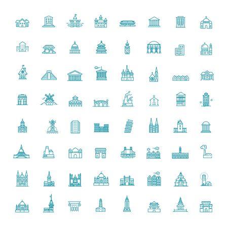 Building Icons set, Government. line flat illustration Ilustração