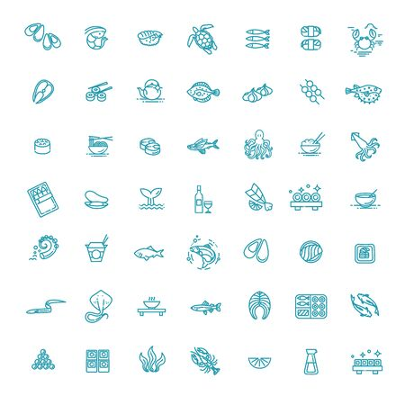 Simple Set of Sea Food Related Vector Line Icons
