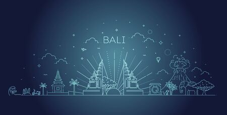 Illustration, vector of Indonesia Icons and landmarks