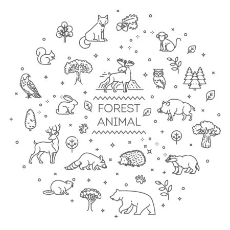 Line forest wildlife concept with different animals 向量圖像