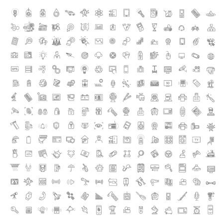 Thin outline icons set. Icons for technologies and digital marketing Vettoriali