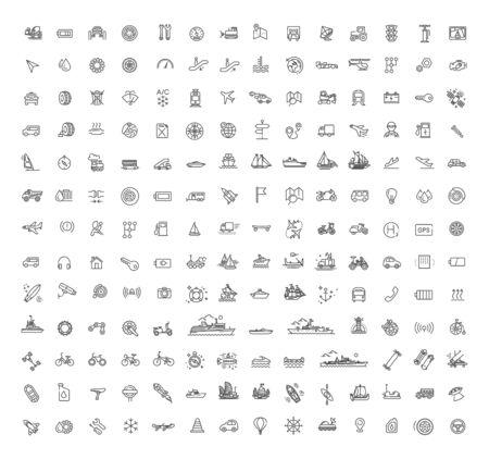 Vector Transport icons, thin line design. Transport symbols Ilustrace