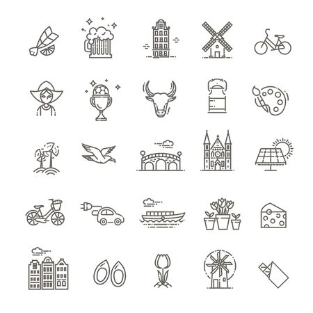 Dutch Culture Icons, Culture Signs of Holland, Traditions of Netherlands, Dutch Life, National Objects of Holland Illustration