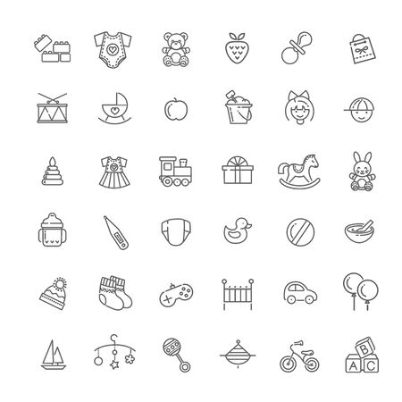 Vector outline line web icon set. Feeding and care
