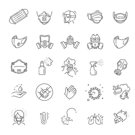 Virus related icons: thin vector icon set 向量圖像