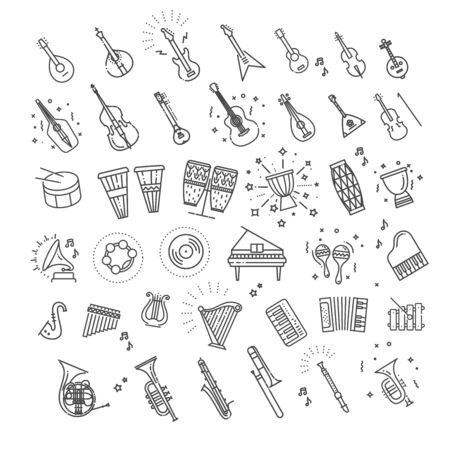 Outline flat vector icons. music classic instruments.