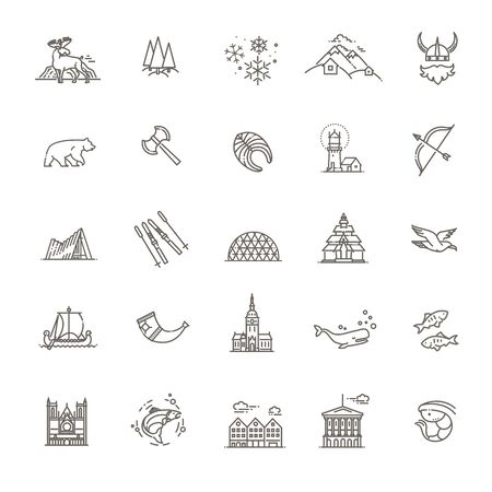 City sights vector icons. Norway landmark. 向量圖像