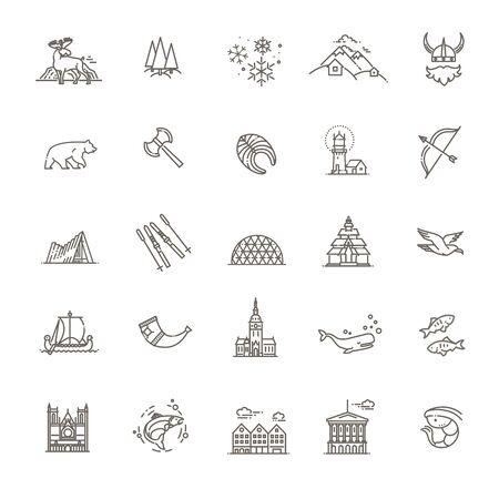 City sights vector icons. Norway landmark. Ilustração