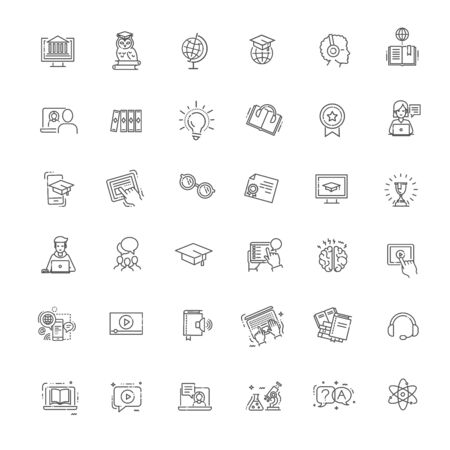 E-learning, online education vector elements 向量圖像