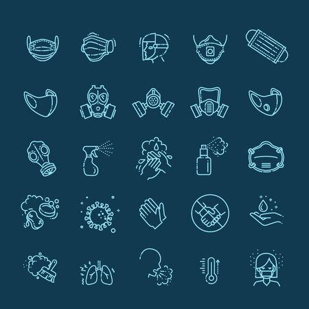 Virus related icons. Thin vector icon set Vettoriali
