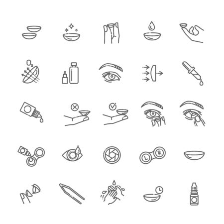 Contact lenses icon set. Flat design style
