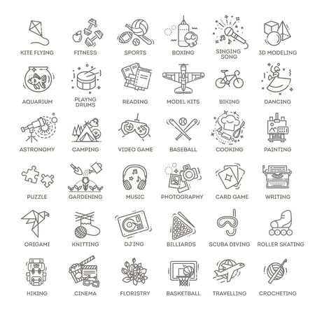 Hobbies and interest detailed line icons set in modern line icon style