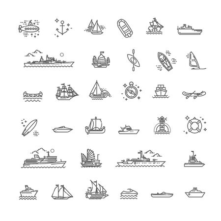 vector line set of ships and boats