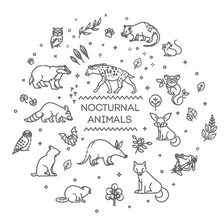 Line forest wildlife concept with different animals Illustration