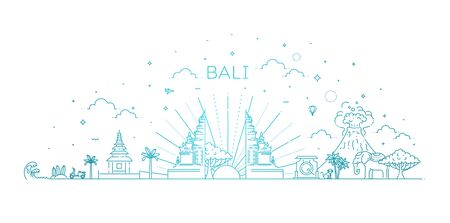 Bali travel banner with famous landmarks. Vector illustration