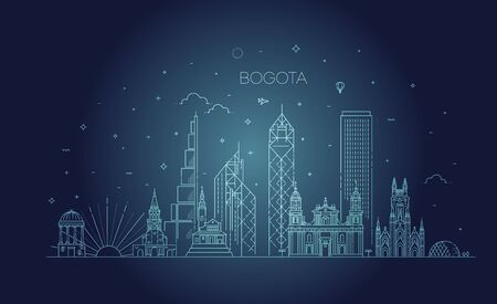 Cityscape Building Line art Vector Illustration design - Bogota - Vector