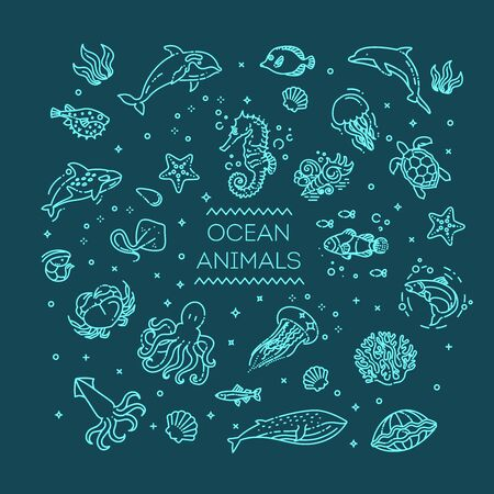Set of sea or ocean animals icons.Vector illustration 向量圖像