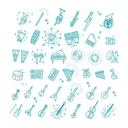Outline music classic instruments vector icons. 向量圖像