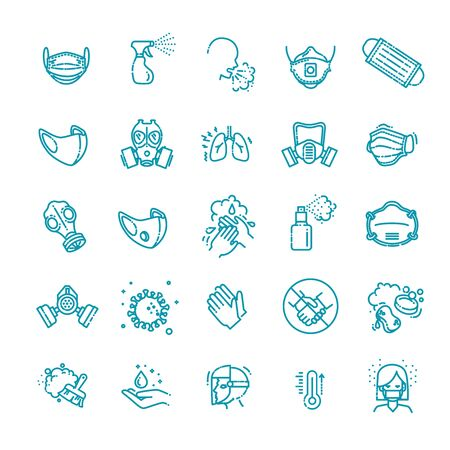 Virus related icons. Thin vector icon set Illustration