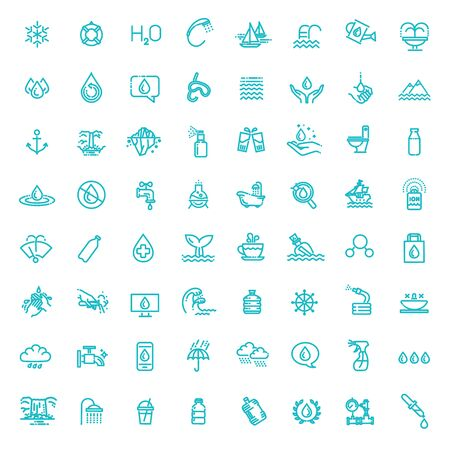 Water icon set in thin line style 版權商用圖片 - 149986496