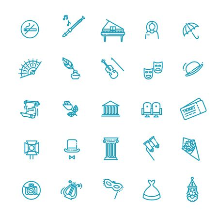 Theater linear icons. Theatre collection of isolated symbols - Vector Illustration