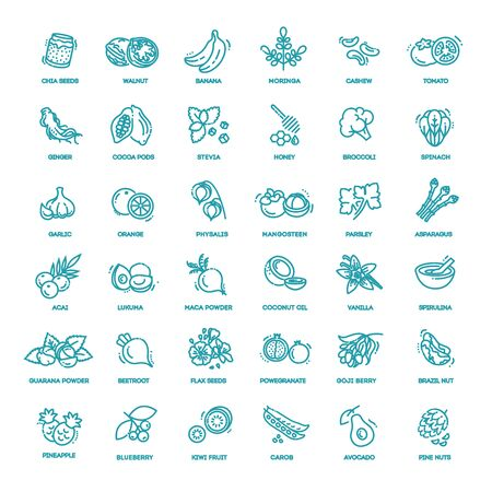 Superfoods line vector icons. Organic superfoods 向量圖像