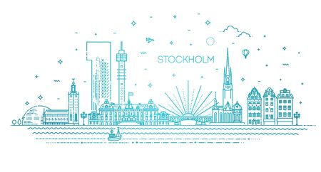 Sweden. This illustration represents the city with its most notable buildings