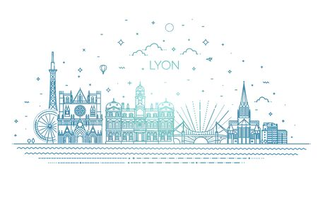 Lyon skyline with panorama in white background Illustration