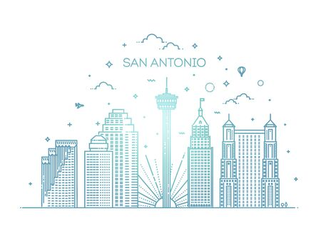 San Antonio city skyline vector background 版權商用圖片 - 150375321