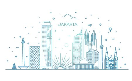 Jakarta Linear City Skyline. Vector illustration