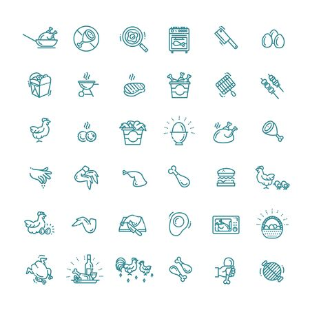 Chicken Well-crafted Pixel Perfect Vector Thin Line Icons