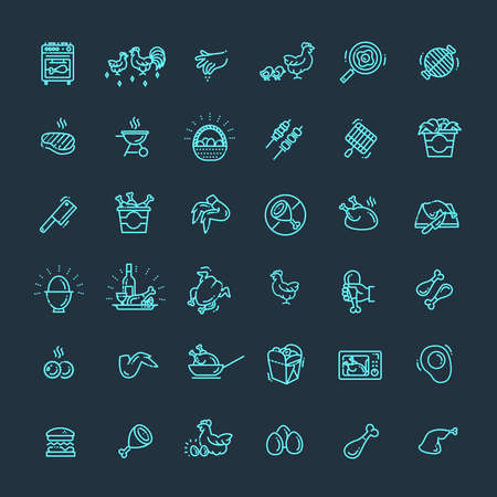 Simple Set of Chicken Meat Related Vector Line Icons Illustration
