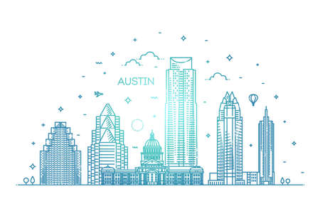 Austin architecture line skyline illustration. Linear vector cityscape with famous landmarks 版權商用圖片 - 150966582