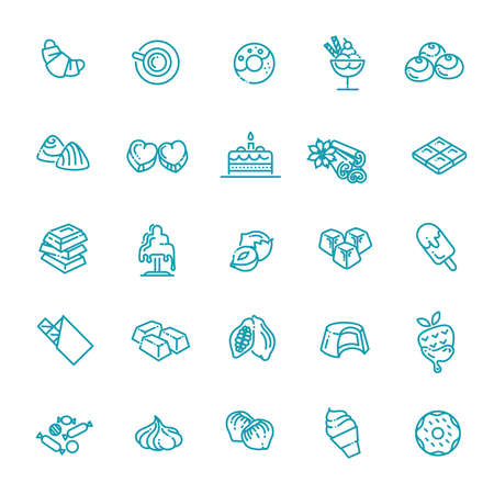 Set vector line icons in flat design chocolate